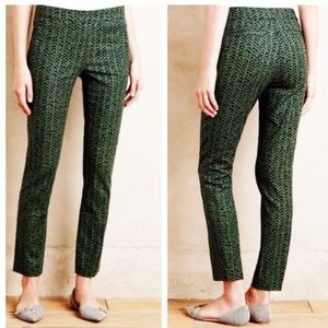 Anthro Cartonnier Charlie Navy Green Ankle Pants 4